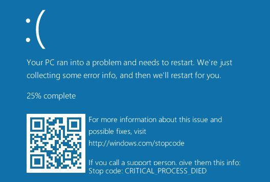 Искусственно вызванный синий экран смерти в Windows 10