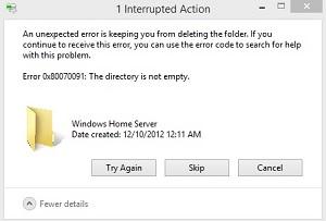 Ошибка 0x80070091 папка не пуста. Как удалить?