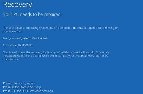 Ошибка 0xc0000225 в Windows 8
