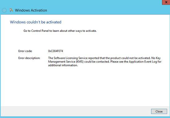Ошибка 0xc004f074 в Windows 10