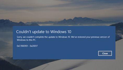 Ошибка 0xc1900101 0x20017 при обновление до Windows 10