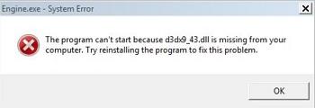 Ошибка d3dx9 43 dll.